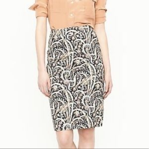 J. Crew No 2 Pencil Skirt in Heathered Paisley